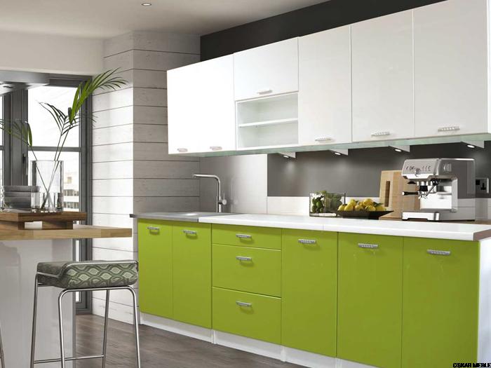 Zestaw kuchenny ASIA de lux 2,6m MDF zielony biały połysk   -> Kuchnia Zielone Kafelki